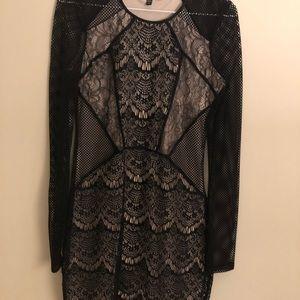 Express Black / Nude Mesh pattern Dress sz S
